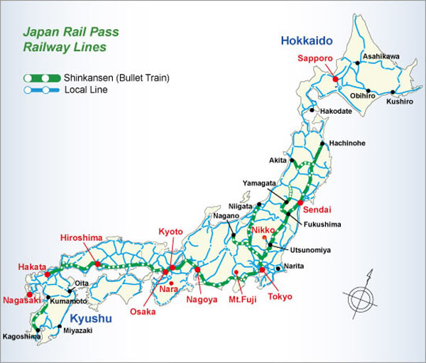 Japan Rail Train Map