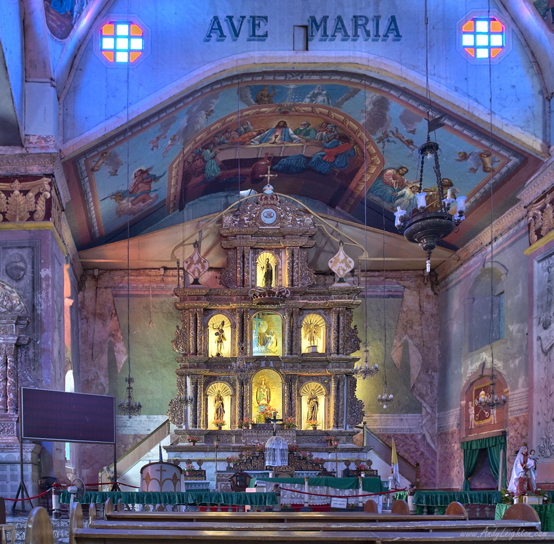 HDR photograph, inside the Church of Our Lady of the Immaculate Conception in Baclayon, Bohol Island, Philippines