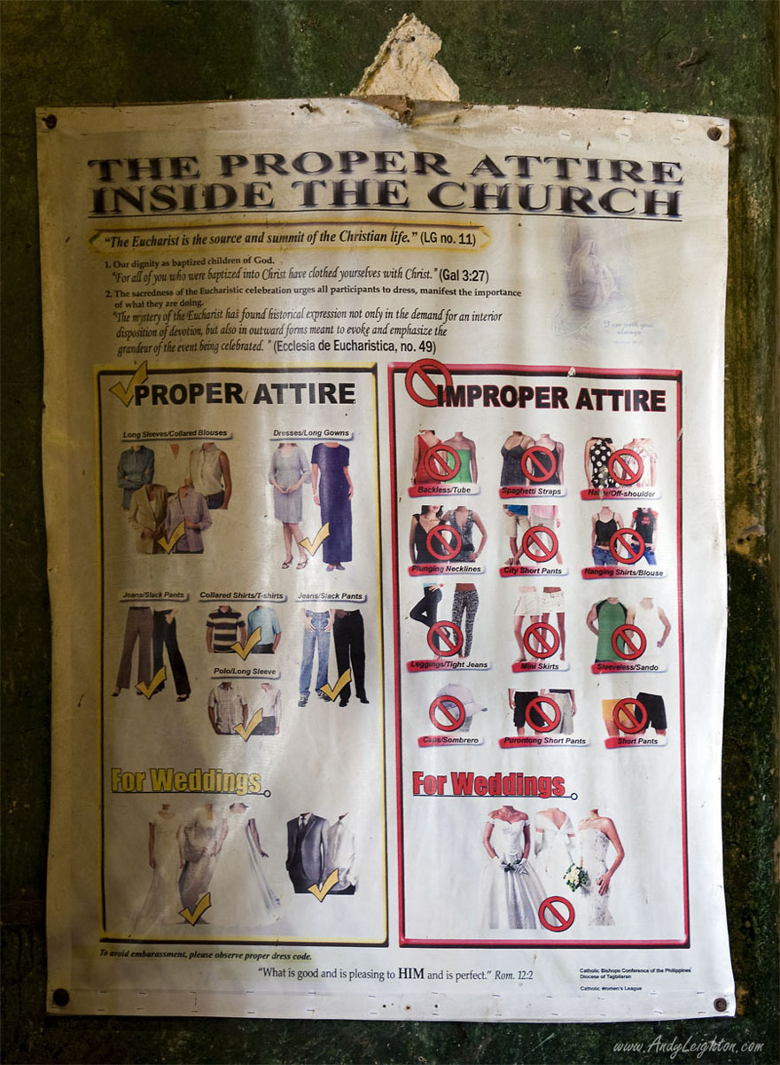 An old paper notice describing the accepted dress codes in the Baclayon Church. Bohol Island, Philippines