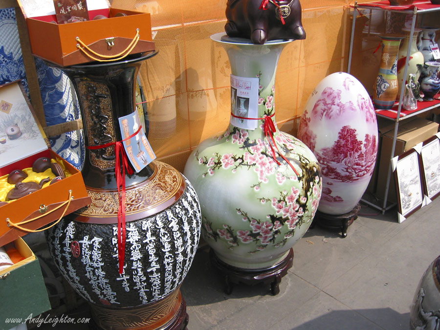 Large colourful pottery vases in traditional and egg shapes, pottery market in Renmin Park, Chengdu, China.