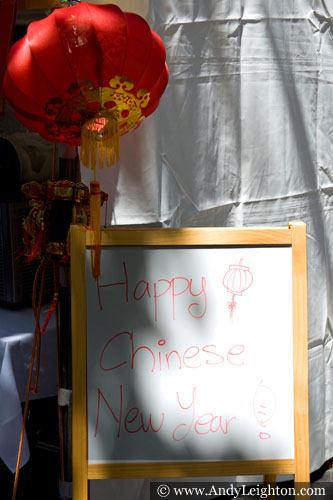 A Happy Chinese New Year! sign and red lantern. Chinese New Year 2013, Northbridge, Perth, Australia