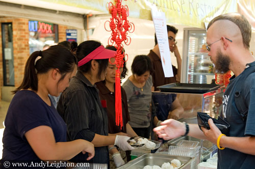 A customer waits for his order at the Seafood Chinese Restaurant. Chinese New Year 2013, Northbridge, Perth, Australia