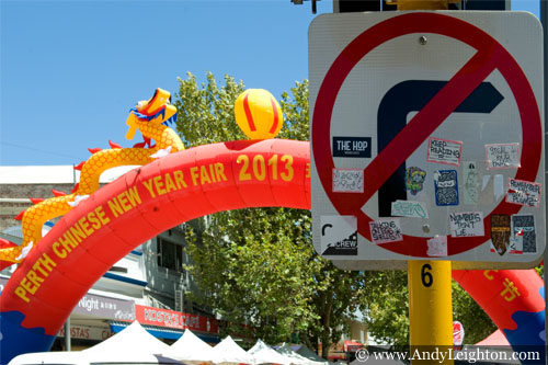 A colourful inflatable archway welcomes visitors to the Chinese New Year 2013, Northbridge, Perth, Australia