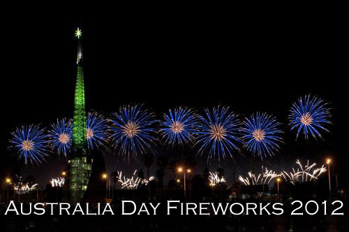 26th January 2012 Australia Day blue fireworks in the night sky over the Swan River as a background for the green lighted Perth Bell Tower. Perth, Australia