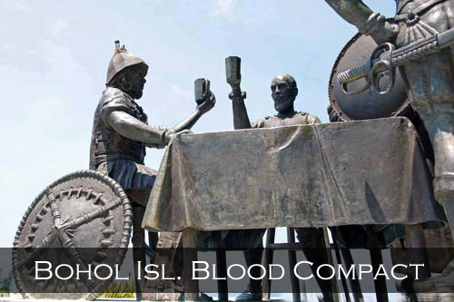 Blood compact was a ritual in the Philippines where tribes would cut their wrist and pour their blood into a cup and drink each other's blood as part of the tribal tradition to seal a friendship, treaty or agreement. The cup was usually filled with a wine and is mixed with blood and drank by both parties signifying their mutual consent. Bohol Island, Philippines