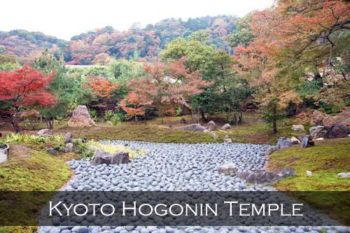 Hundreds of round stones arranged on the ground in Kyoto's Hogonin Temple. Japan