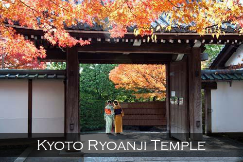 Two girls in kimonos wait at the entrance to the Ryoanji Temple framed by Japanese Maple. Kyoto, Japan