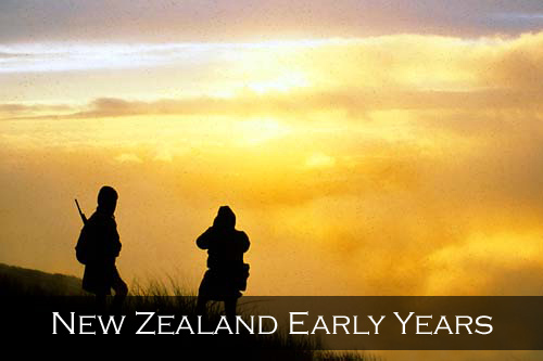 Evening captures two hunters silhouetted against the setting sun and cloud. Hohonu Ranges, Westland, New Zealand. (Durham Woollaston, Garry Turnbull)