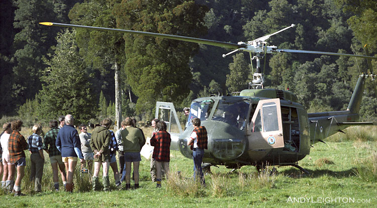 The Air Force pilots give a safety briefing to the searchers before the days flights into the search area. Arahura River Valley, Westland, New Zealand. Terry Sweetman