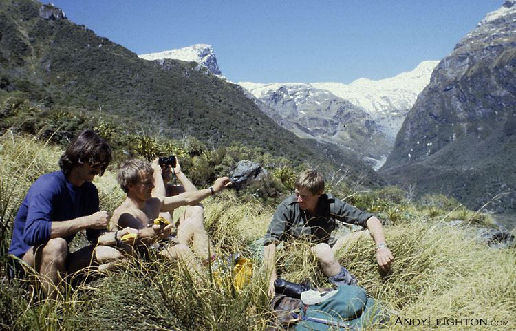 A break from searching in the midday sun, a good time to scan the open tops with binoculars. (if you can help me with this location and/or people, please let me know!). Westland, New Zealand. Unknown, Bob Bird, Garry Turnbull, Stephen Langridge