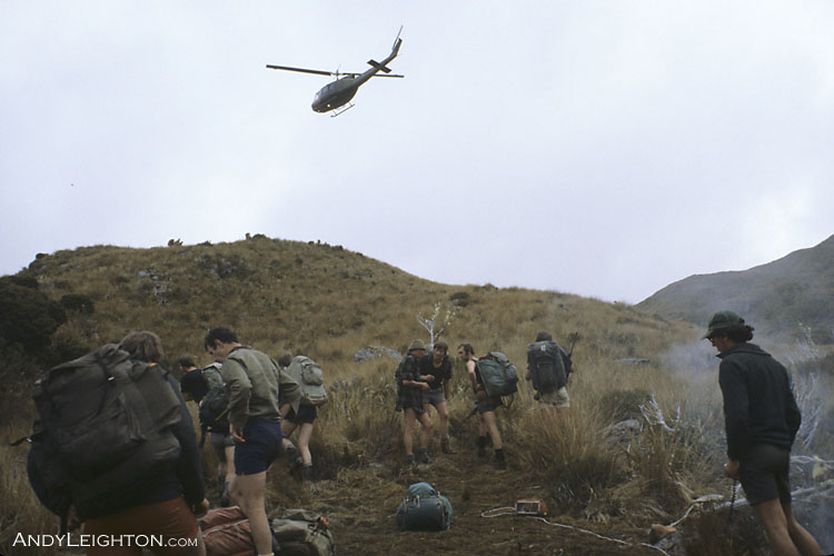 This was part of a search and rescue exercise with help from the Air Force. A day or so before the searchers arrived on location a 'lost party' would be dropped into the mountains by helicopter with pack and rifles. The search teams had to track down the 'lost party' over the next few days. Paparoa Ranges, Westland, New Zealand. Hacky Sims, Mick Delury