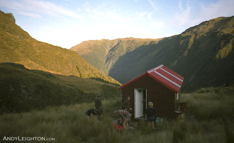 Sitting between the Haupiri and Crooked Rivers, high on the open tops is the Lake Morgan Hut. Westland, New Zealand. Murray Wright, Barry Petrie, Garry Turnbull