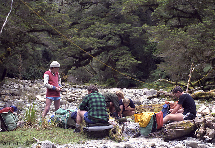 A break from searching for a bite to eat, and time for a HF radio schedule back to base camp to give our position and any updates to or from search base. Paparoa Ranges, Westland, New Zealand. Ray Menzies, Garry Turnbull