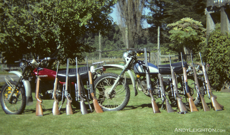 As enthusiastic teenagers we seemed to have more firepower than skill, this line up of rifles on our motorbikes contains, airguns, semi autos, lever actions, bolt actions, shot guns with well known brand names like Anschütz, BSA, Winchester and riflescopes Kahl and Bushnell … but thinking back as a teenager I think cardboard targets and 4 litre containers full of water had infinitely more bullets fired at them than the few wild animals unlucky enough to be caught in our rifle sights … Marsden, Westland, New Zealand