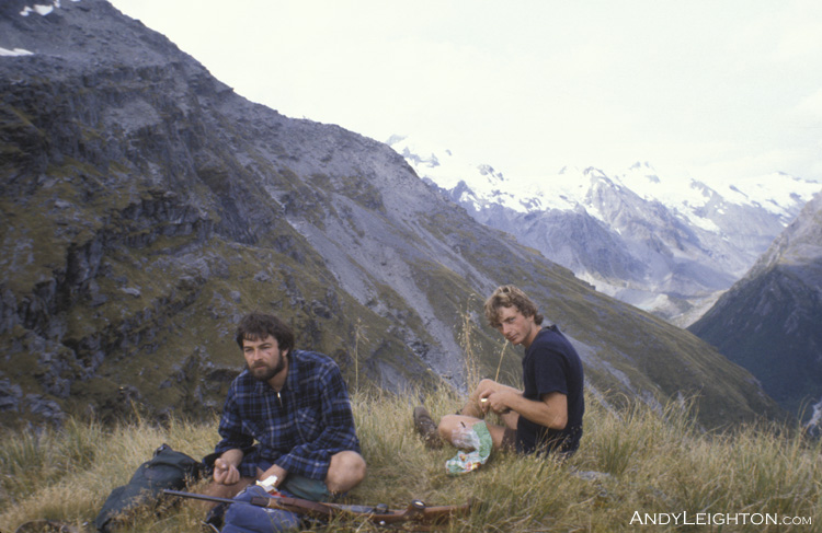 Lunch break with the Perth River valley behind us. Ian Arnott, Andy Leighton