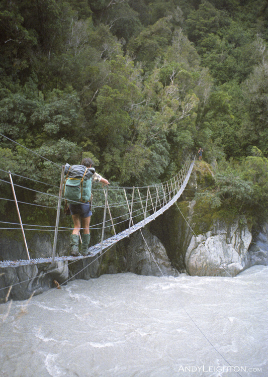 They are usually safe, but a swing bridge still tends to give you a slightly uneasy feeling. Perth River, Westland, New Zealand. Ian Arnott