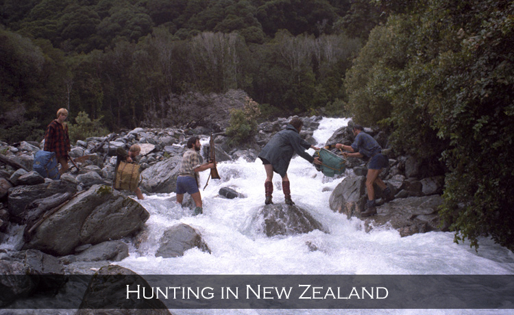 Loss of balance on the slippery rocks will mean a cold dunking at the very least and possibly a lot worse. Perth River Valley, Westland, New Zealand. Malcolm Thomas, Garry Turnbull, Ian Arnott, Joe, Mick Delury