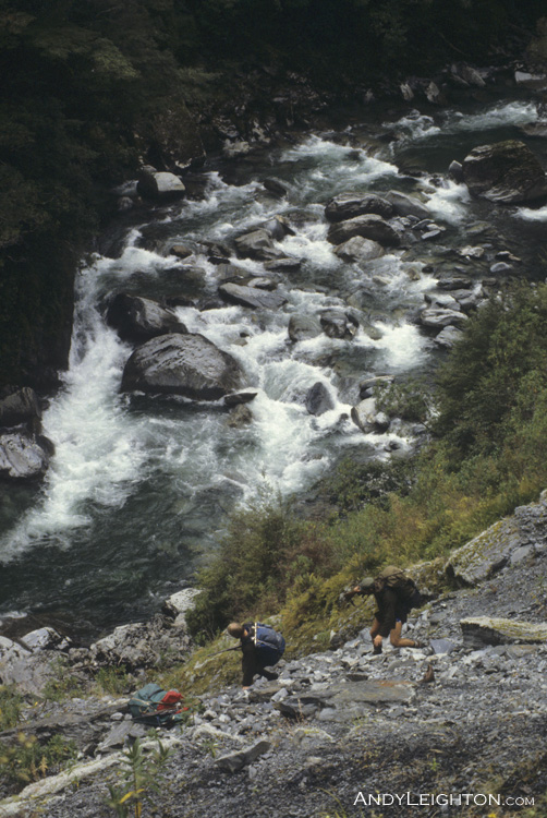 Climbing down into the Waikiti River. Westland, New Zealand. Garry Turnbull, Barry Greening