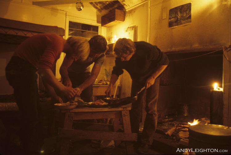 Cooking dinner under candle light in a mountain hut. Garry Turnbull, Peter Gurden, Andy Leighton