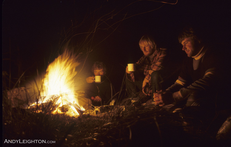 A warm campfire to relax by after a hard days hunting. Pete Gurden, Garry Turnbull, Andy Leighton