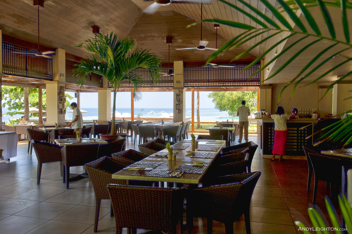 HDR picture looking through the Amorita Resort dining room out to the sea view, Panglao Island, Philippines