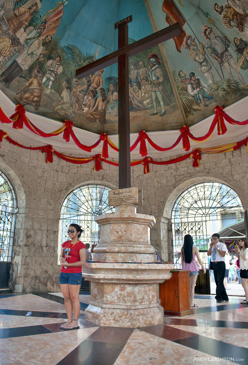HDR picture of Magellan's Cross, the cross was planted by Spanish explorer Ferdinand Magellan when he arrived in the Philippines on April 8th 1521, the cross is housed next to the 16th century Basilica del Santo Nino Church in Cebu City, Philippines