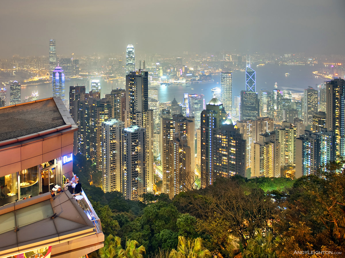HDR picture of a night view from Victoria Peak looking across to Hong Kong city and harbour