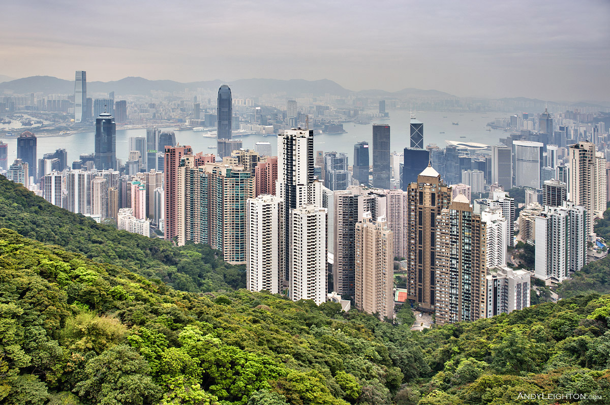 HDR picture of the view from Victoria Peak, looking across to Hong Kong city and Victoria Harbour