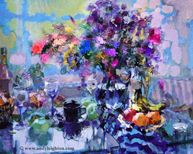 Li Yan painting of flowers on table