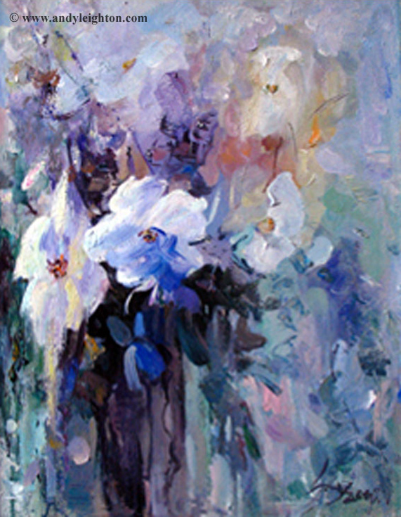Li Yan painting of blue and white flowers