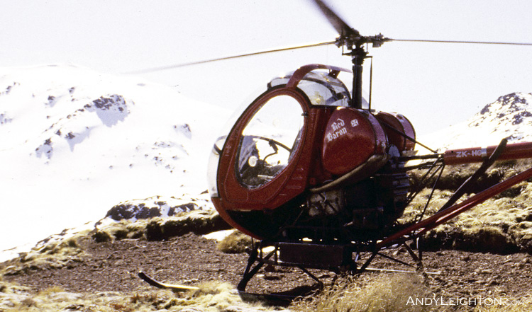 Named 'Red Baron', this Hughes 300 helicopter had a well known history of deer recovery in the Fiordland area, New Zealand. ZK-HGD