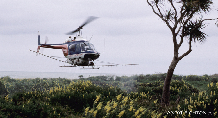 Spraying herbicide from a Bell Jetranger helicopter along the Karamea coast, New Zealand. HSG, Kevin Anderson (pilot)